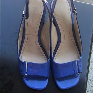 Calvin Klein slingback 6 heels. Bright blue! EUC
